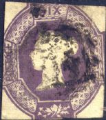 1854 6d Purple Embossed SG60